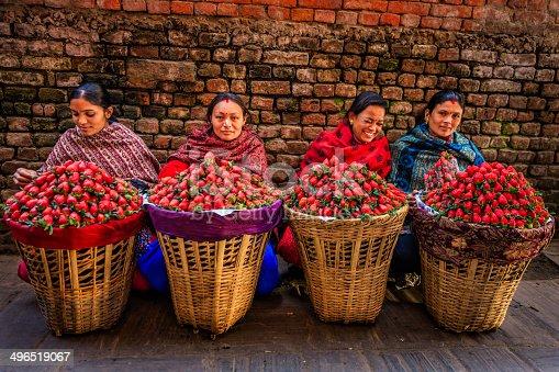 Fresh Strawberries Street Market In Kathmandu Nepal Stock Photo