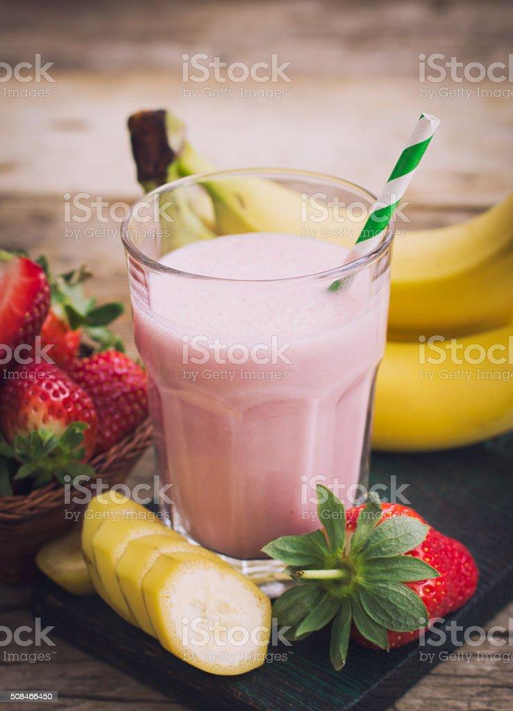 Fresh strawberry and banana smoothie stock photo