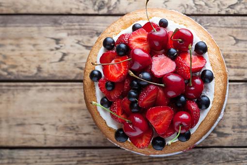 Fresh strawberry cake homemade traditional gourmet sweet dessert bakery food