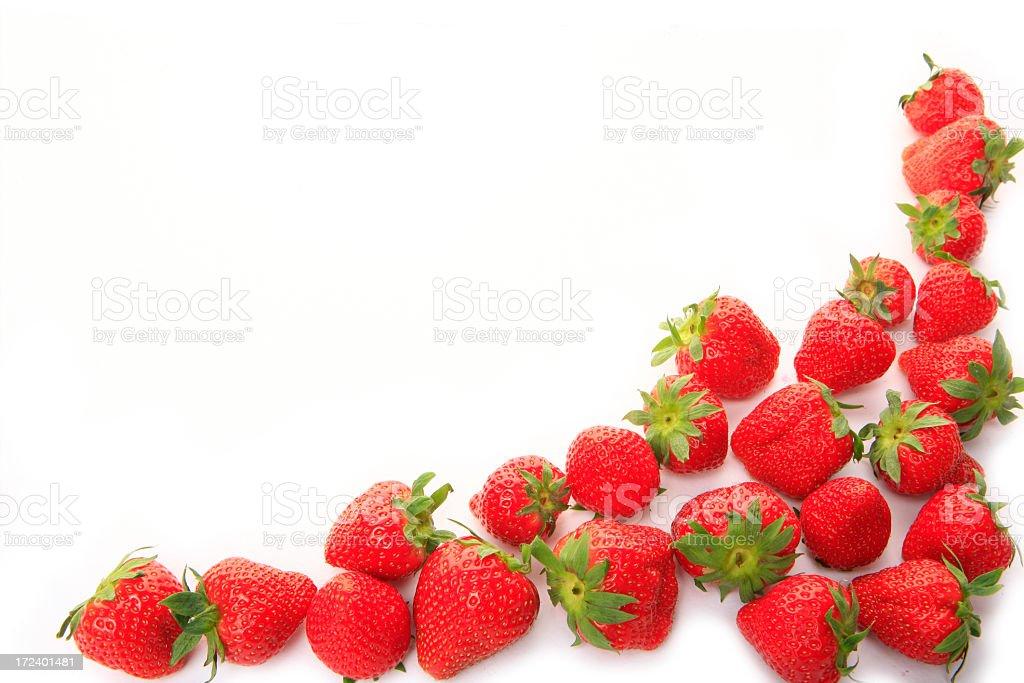 fresh strawberry frame on clear white background stock photo