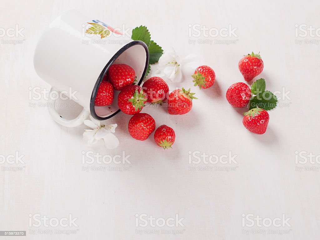 Fresh strawberry in cup stock photo