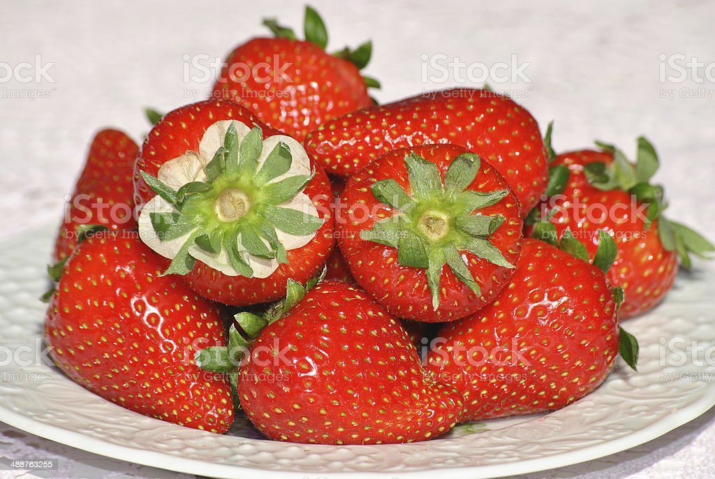 Fresh strawberry on a plate royalty-free stock photo