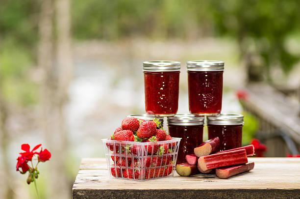 Fresh strawberry rhubarb jelly stock photo