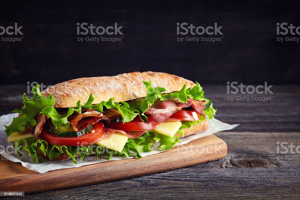 Fresh submarine sandwich stock photo