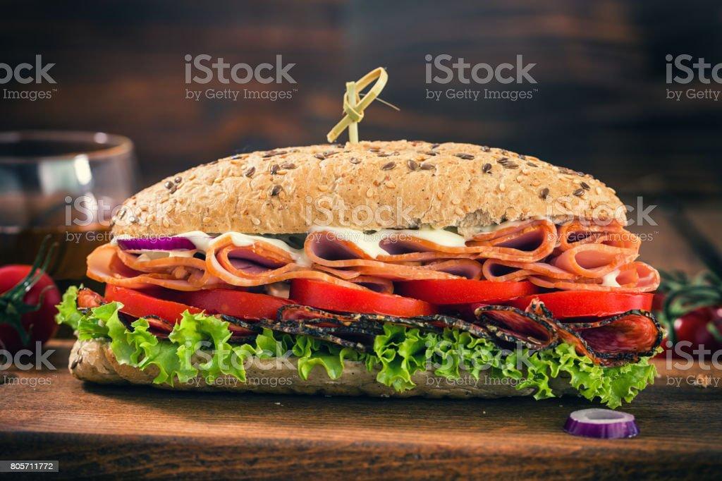 Fresh Submarine Sandwich stock photo