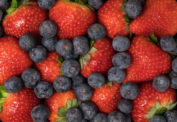 Frische Sommerbeeren, Heidelbeeren und Erdbeeren. – Foto