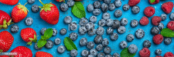 841659594 istock photo Fresh summer berries strawberry, blueberry, raspberry. Various fresh summer berries. Long web format 1168366456