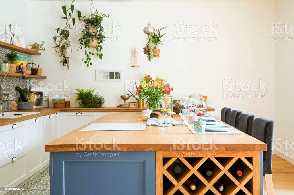 Modern composition of mediterranean\'s kitchen interior.
