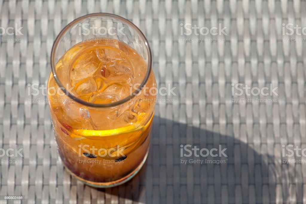 fresh summer sangria cocktail with lemon and berries; royaltyfri bildbanksbilder