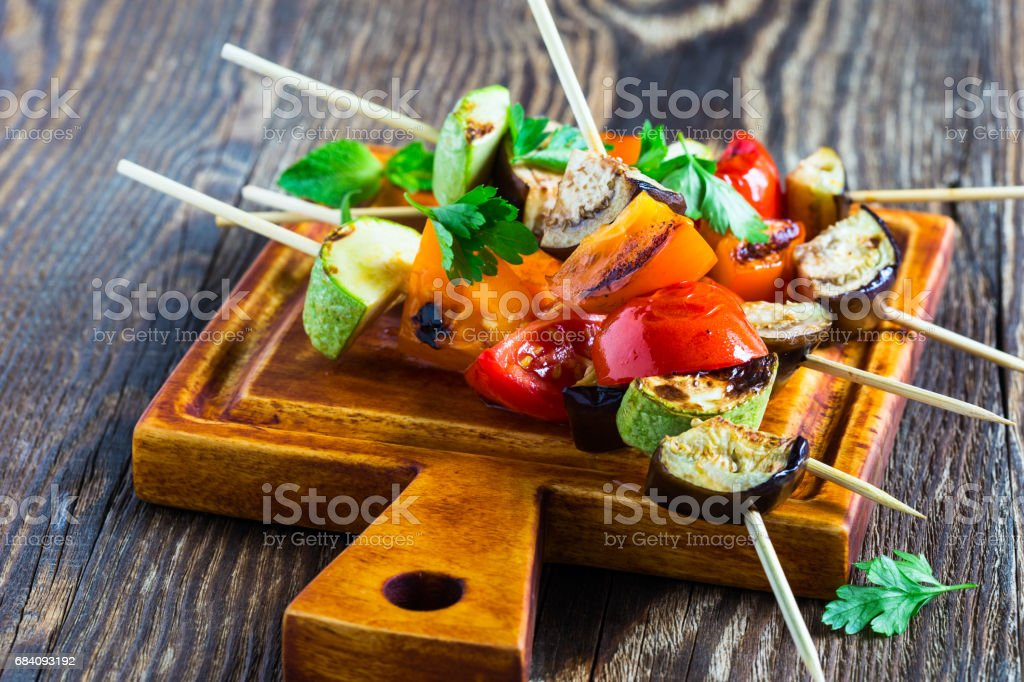 Fresh summer vegetable kebabs  with eggplant and cherry tomatoes stock photo