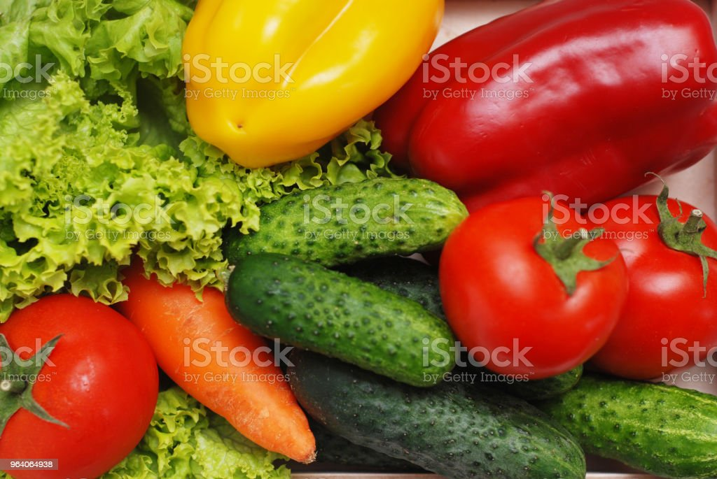 Fresh Summer Vegetables in Wooden Box Isolated on Textured Gray Backgroung. Organic Vegetables Vegetarian Vegan Health food Eatting - Royalty-free Abundance Stock Photo