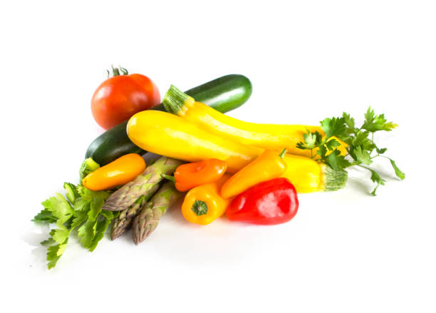 Fresh summer vegetables isolated on white background stock photo