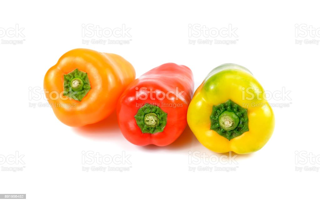 Fresh sweet bell peppers isolated on white background stock photo