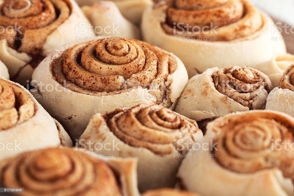 Fresh sweet homemade cinnamon rolls pastry stock photo
