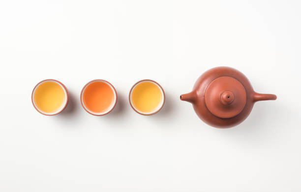 fresh taiwan oolong tea and teapot - tea leaf stock photos and pictures