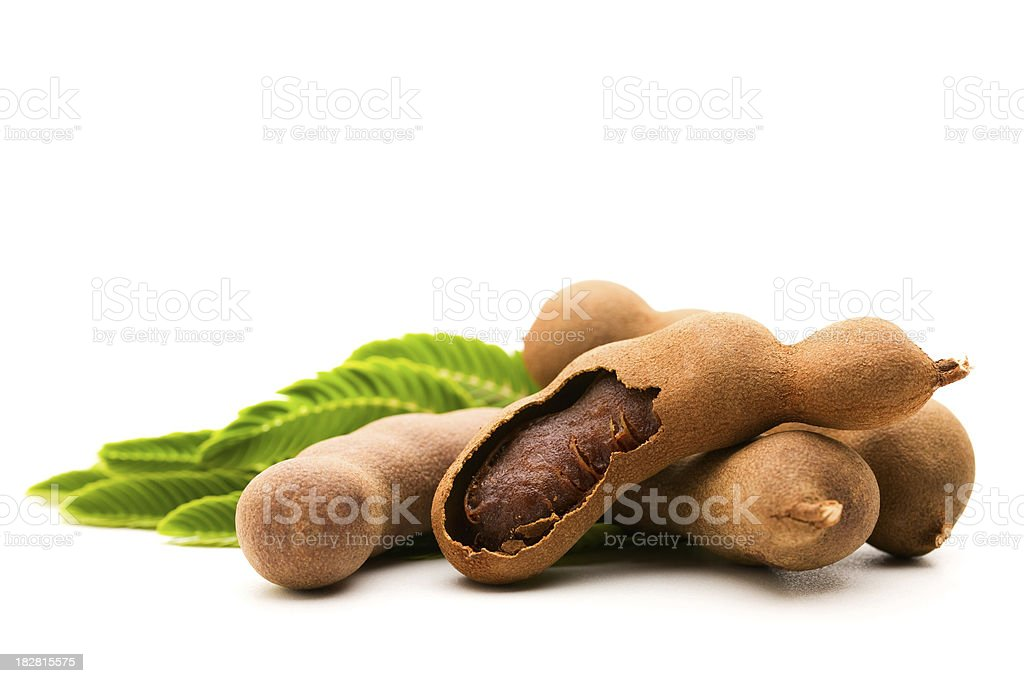Fresh Tamarind with leaves royalty-free stock photo
