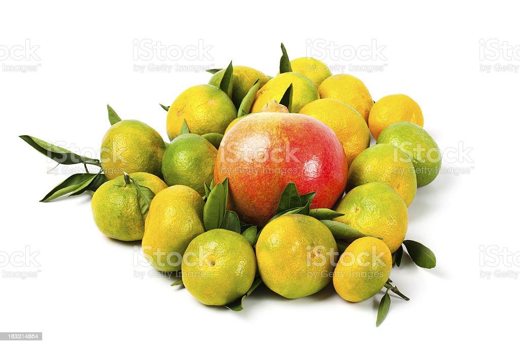 Fresh tangerine fruits with pomegranate. stock photo