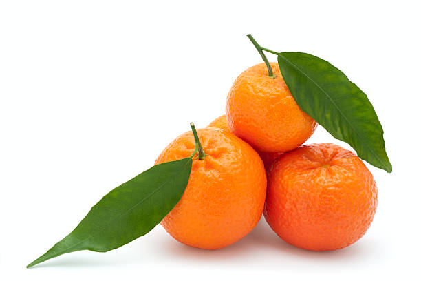 Fresh Tangerines Fresh Tangerines on a white background tangerine stock pictures, royalty-free photos & images