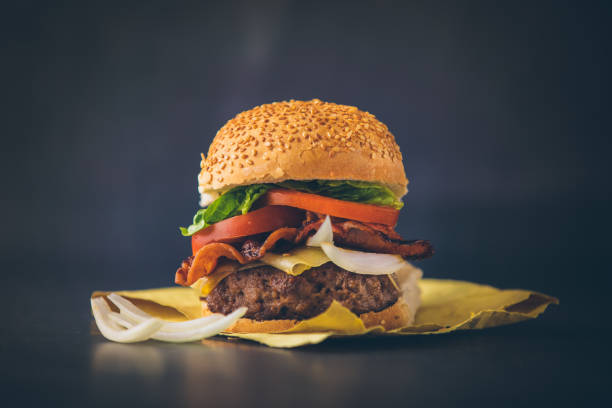 Fresh tasty burger Fast Food Restaurant, Cooking, Restaurant, Sandwich, Burger bacon cheeseburger stock pictures, royalty-free photos & images
