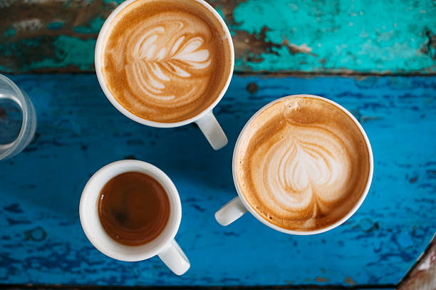 fresh tasty coffee cups - barista stock photos and pictures