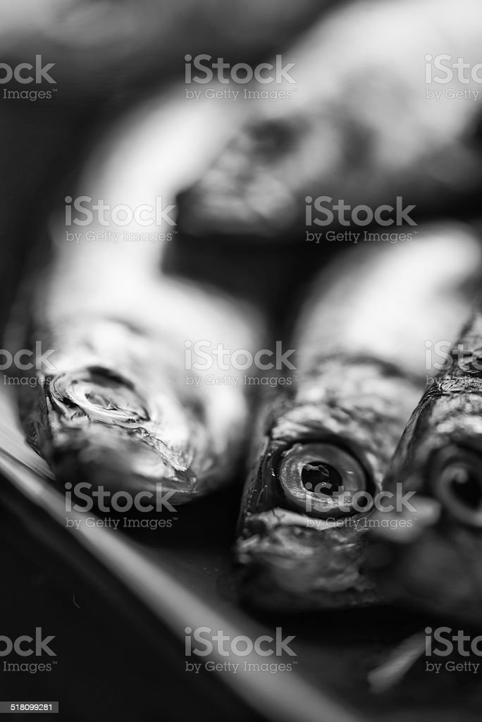 Fresh tasty raw sprats on serving dish  black and white stock photo