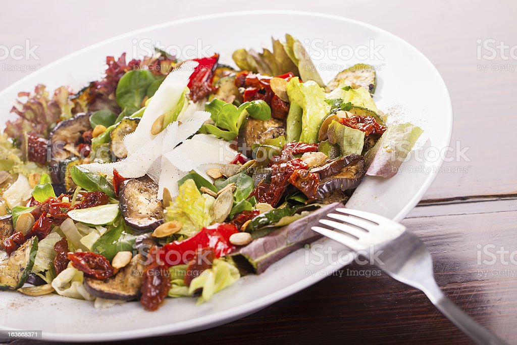 Fresh tasty salad on a plate royalty-free stock photo