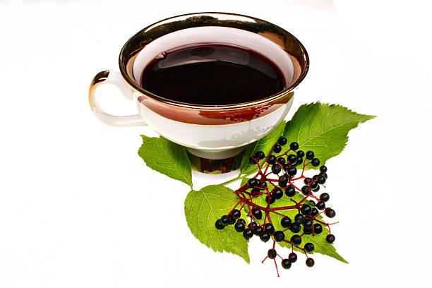 fresh tea fruit elderberry isolated - weißer holunder stock-fotos und bilder