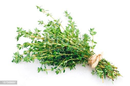 Fresh Thyme in a Bunch.http://i1215.photobucket.com/albums/cc503/carlosgawronski/FoodonWhite.jpg