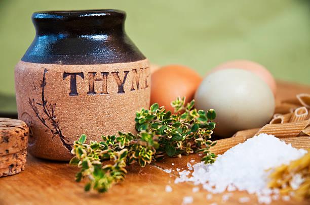 Fresh Thyme Still Life stock photo