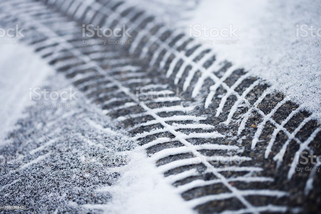 Fresh tire tracks in the snow stock photo