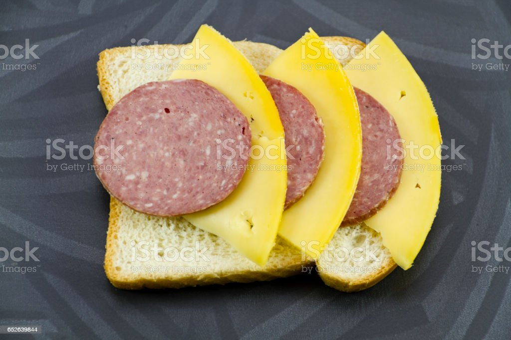 Fresh Toast Bread with Gouda Cheese and Beef Salami stock photo