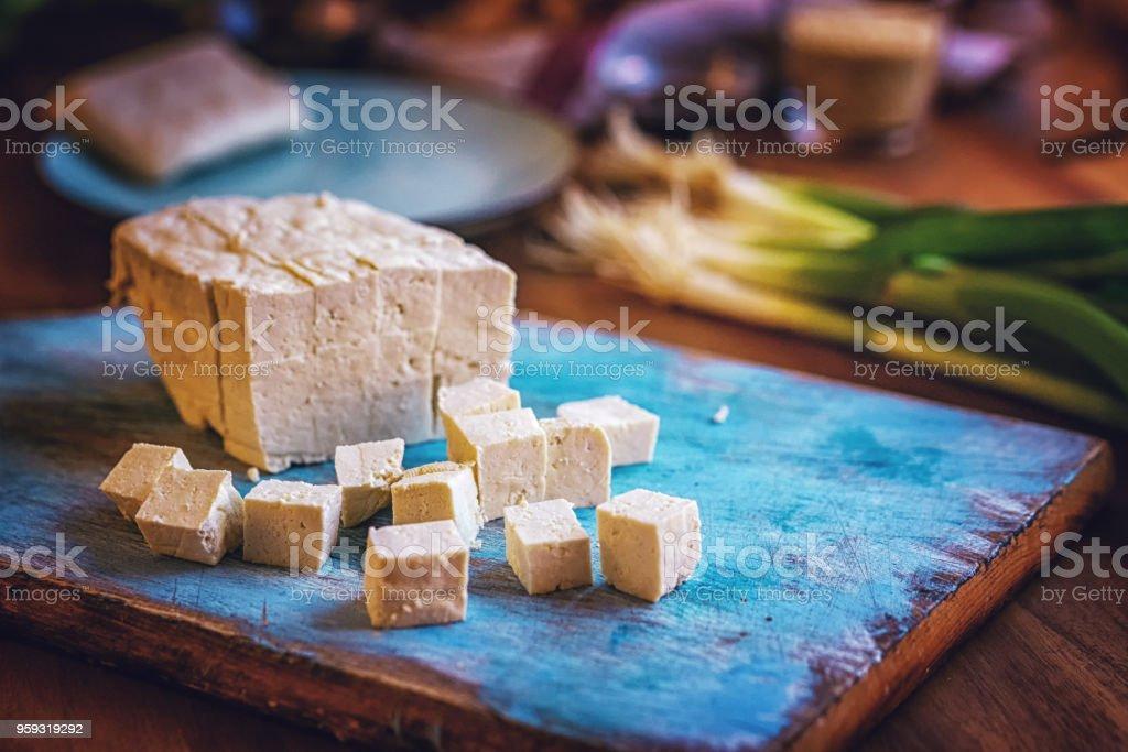 Verse Tofu en lente-uitjes - Royalty-free Bosui Stockfoto