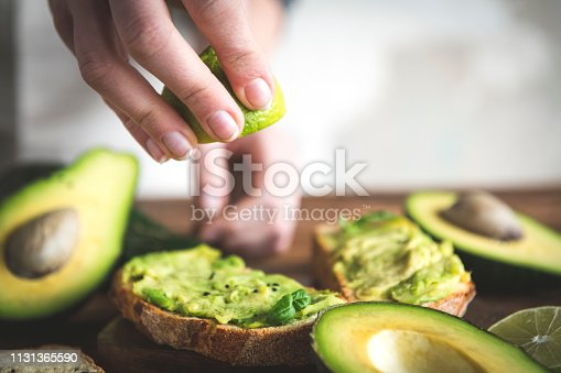 Close up of a tomato and avocado sandwich
