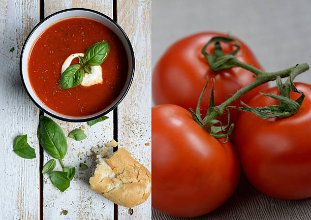 fresh tomato and basil soup with rustic baguette - hausgemachte tomatensuppen stock-fotos und bilder