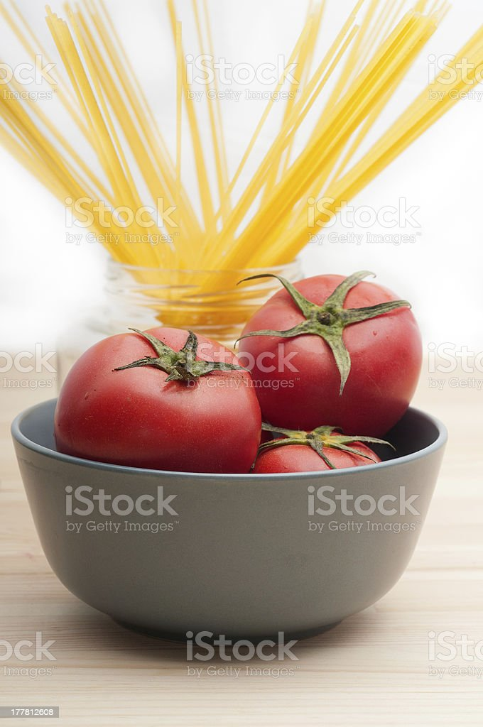 fresh tomato and spaghetti pasta royalty-free stock photo