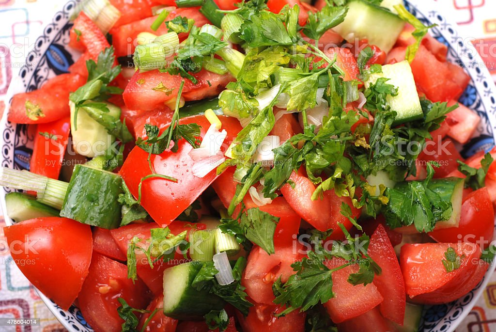 Fresh tomato salad stock photo