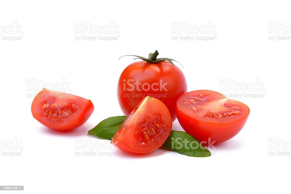 fresh tomato with basil Lizenzfreies stock-foto