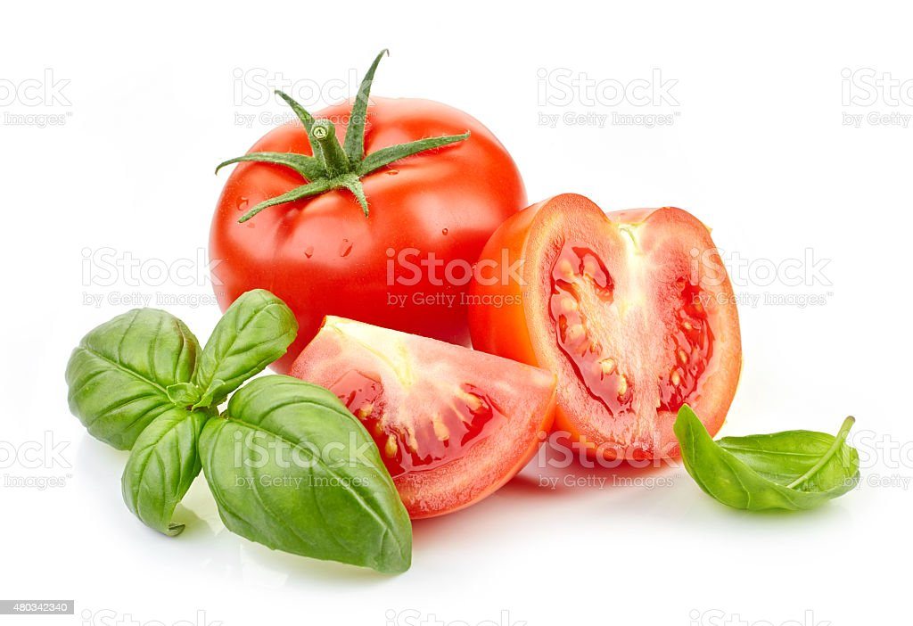 fresh tomatoes and basil leaves​​​ foto