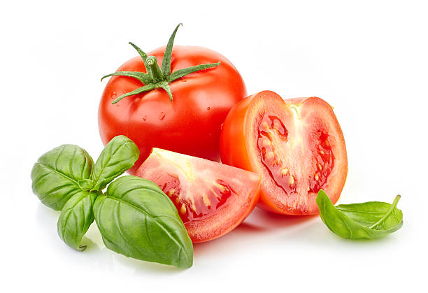 fresh tomatoes and basil leaves - basil stock photos and pictures