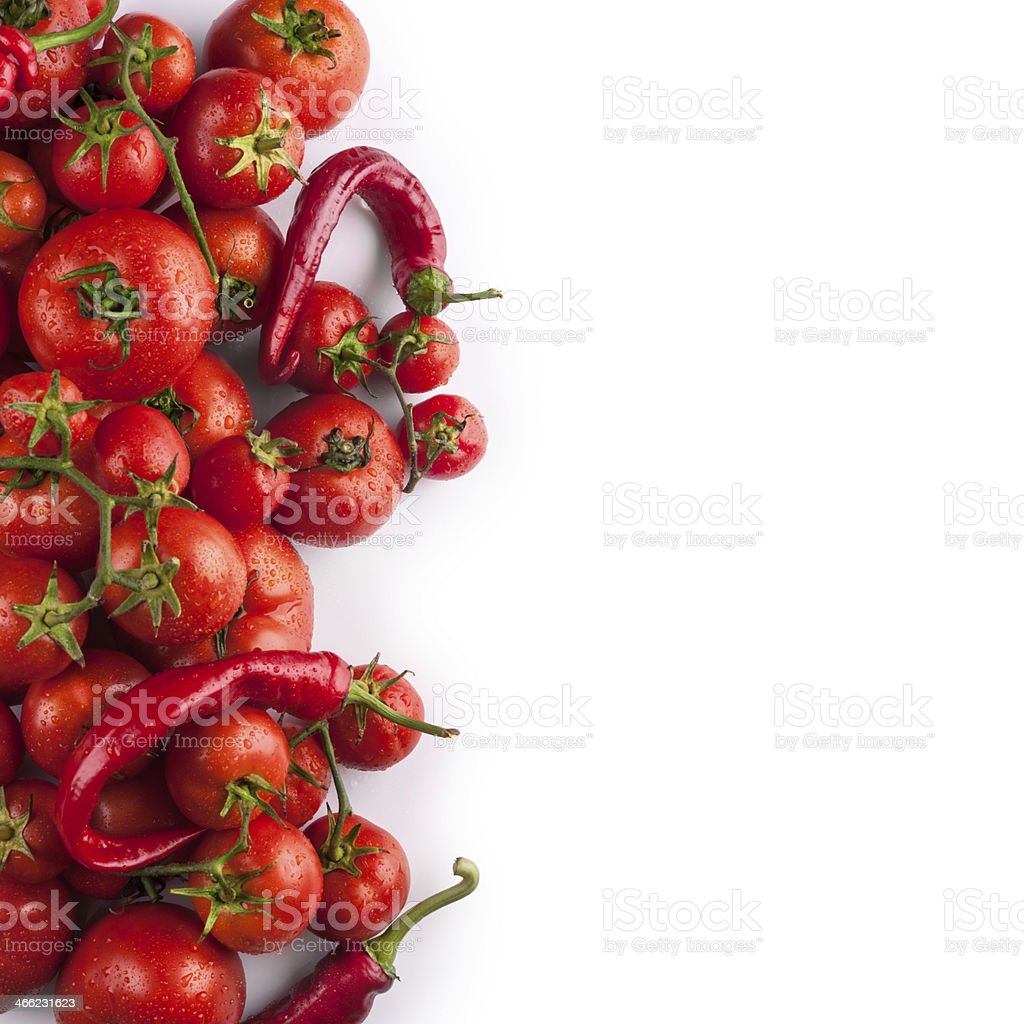 Fresh tomatoes and pepper royalty-free stock photo