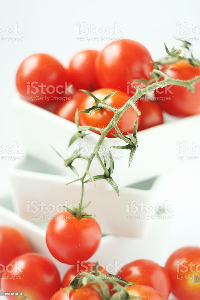 Fresh tomatoes in square bowl royalty-free stock photo