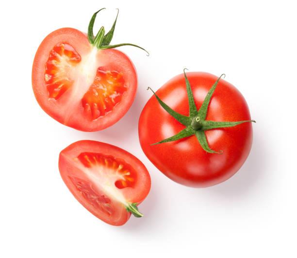 frische tomaten auf weiß - 25 cent stück stock-fotos und bilder