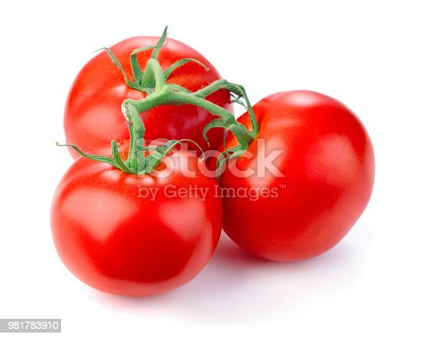 Ripe fresh tomatoes on white background