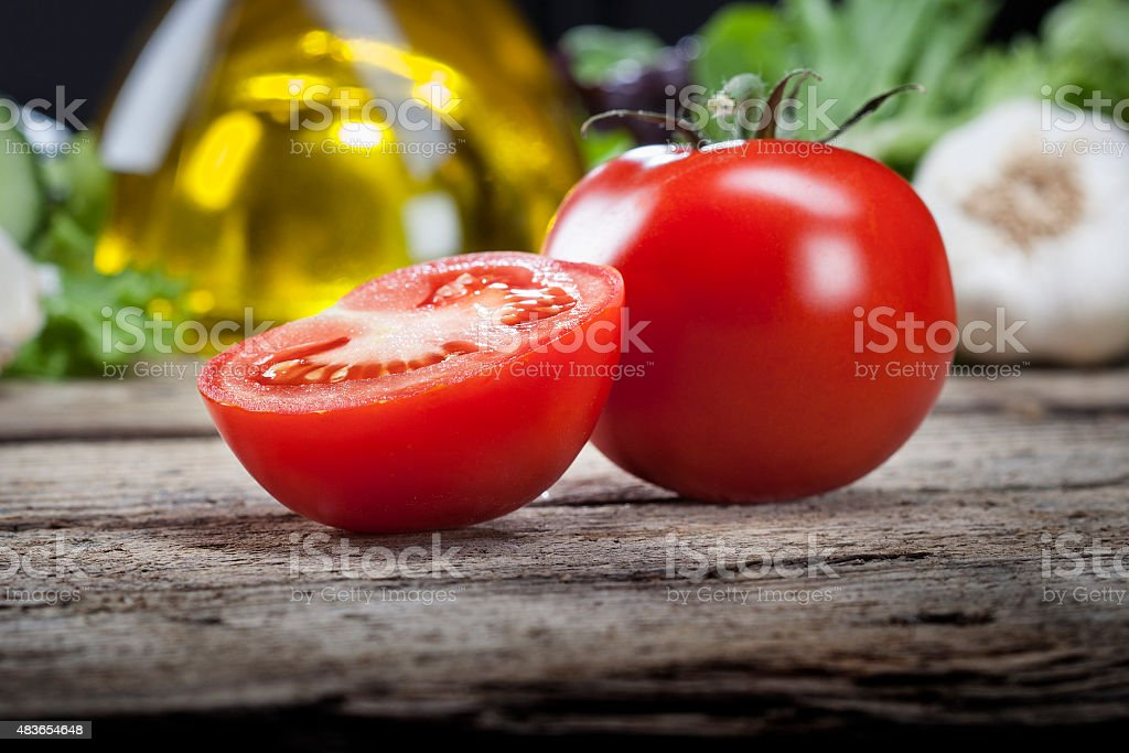 Fresh tomatoes salad wood vegetable stock photo