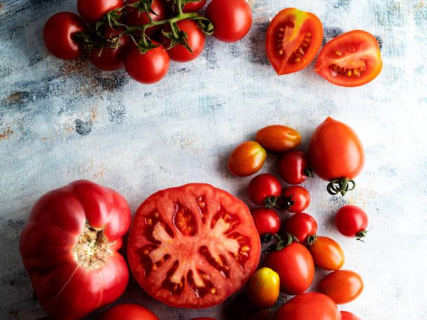 Fresh tomatoes, Tomato,  Set of fresh whole and sliced tomatoes, Colorful ripe tomato, stock photo