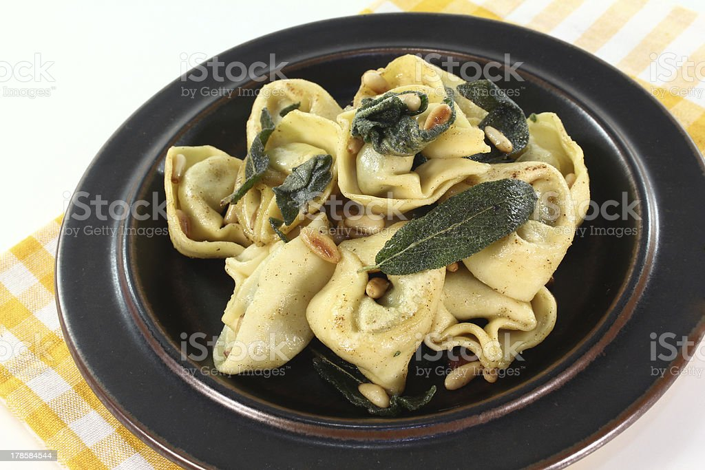 fresh tortellini with sage butter royalty-free stock photo