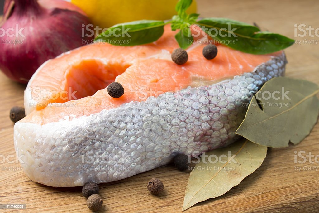 Fresh Trout Steak with Spices royalty-free stock photo