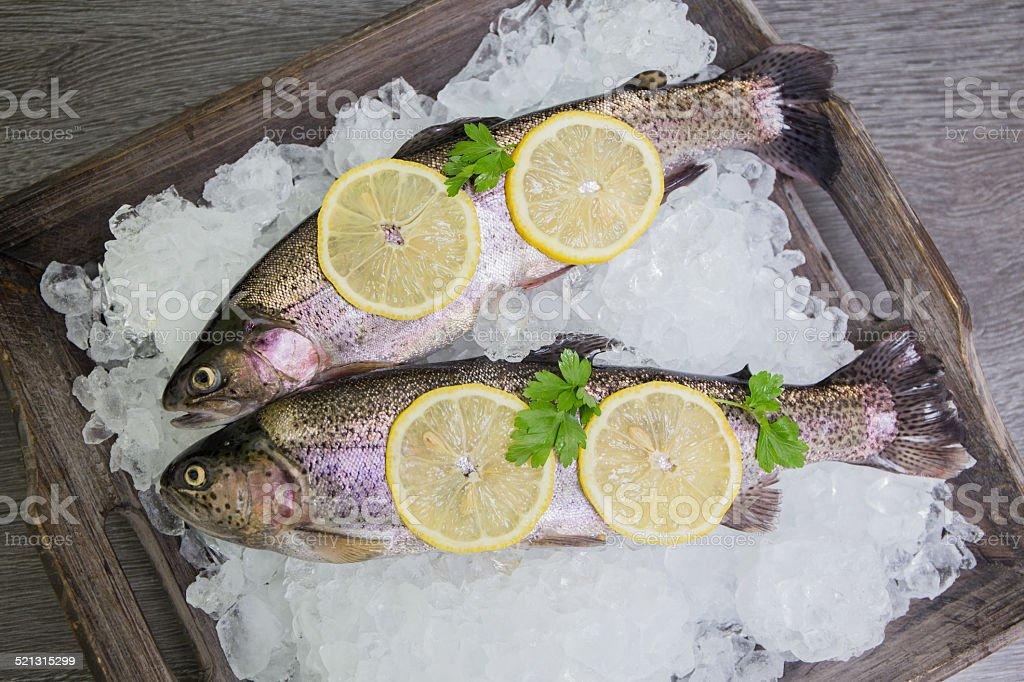 Frische Forellen mit Zitrone auf einem hölzernen Tablett - Lizenzfrei Abnehmen Stock-Foto