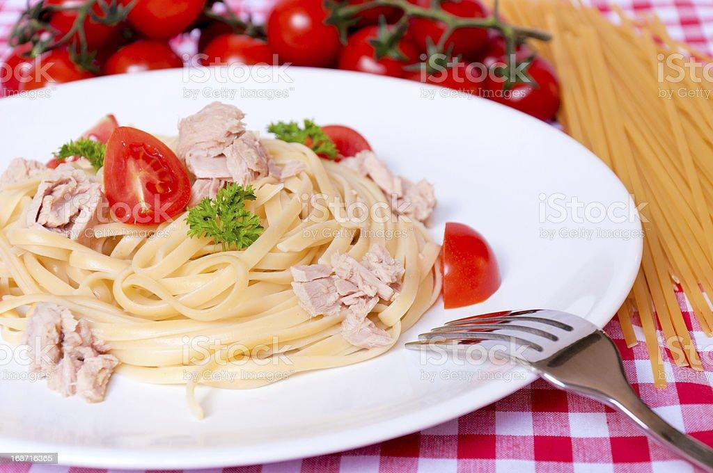 Fresh tuna and spaghetti royalty-free stock photo