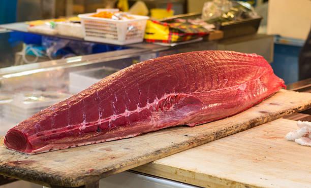 Fresh tuna fillet on the market in Tokyo stock photo